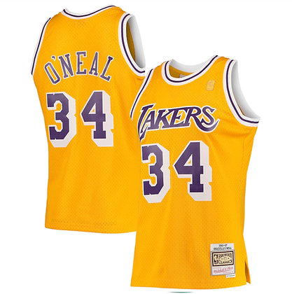 Men's Los Angeles Lakers Shaquille O'Neal Gold 96-97  HWC Swingman Jersey