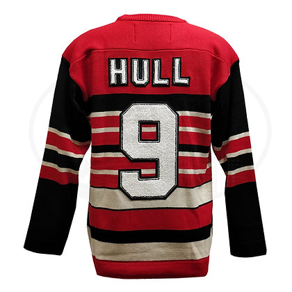 Men's Chicago Blackhawks Hull #9 Heritage Reebok Sweater by Roger Edwards