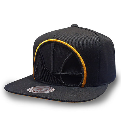 Men's Golden State Warriors Mitchell and Ness Cropped XL Logo Black Snapback
