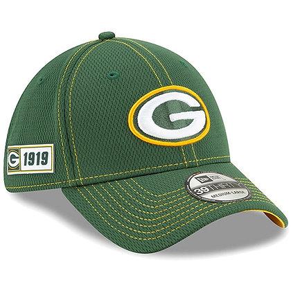 Men's Green Bay Packers New Era Green 2019 Sideline Road 39THIRTY Flex Hat