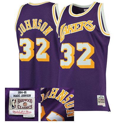 Men's LA Lakers Magic Johnson 1984-85 Purple HWC Mitchell & Ness Swingman Jersey