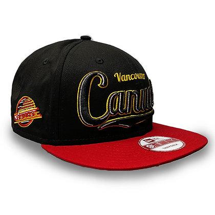Men's Vancouver Canucks Side Skate Logo New Era Black/ Red Visor 9FIFTY Snapback