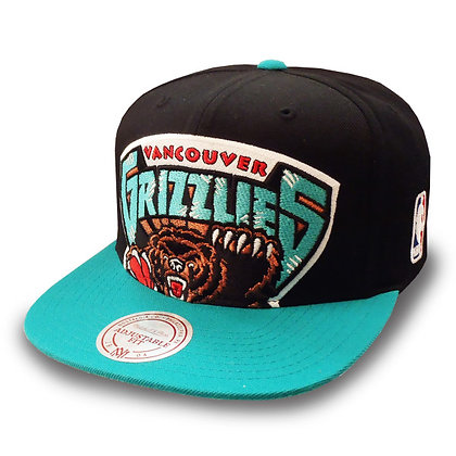 Men's Vancouver Grizzlies Mitchell and Ness Cropped XL Logo 2 Tone Snapback
