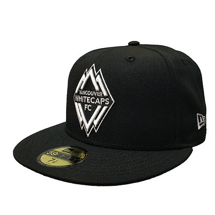 Men's Vancouver Whitecaps New Era White on Black 59FIFTY Fitted Hat