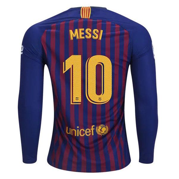 half off 64a59 f665d Men's FC Barcelona Lionel Messi Nike Home Long Sleeve Jersey 2018/19