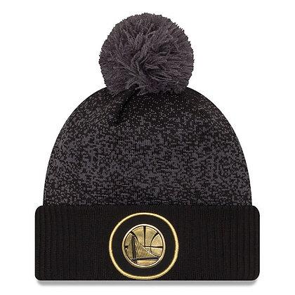Men's Golden State Warriors New Era Black On-Court Gold Logo Cuffed Knit Hat Pom