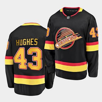 Men's Vancouver Canucks Hughes#43 Adidas Black 2019/20 Flying Skates Authentic