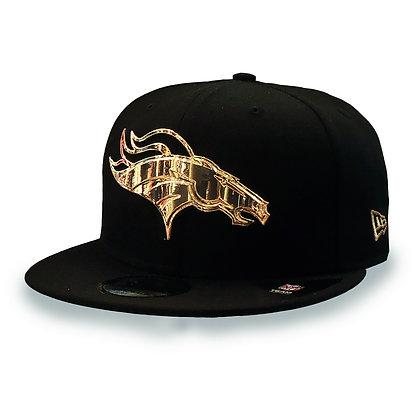 Men's Denver Broncos Golden Finished Logo New Era Black 9FIFTY Snapback