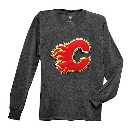Men's Calgary Flames Embroidery Crest '47 Brand Grey LS T-shirt