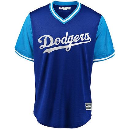 Men's LA Dodgers Majestic Royal/ Light Blue 2018 Weekend Pullover Jersey