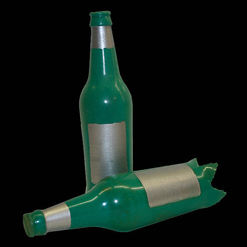 Ultimyth painted full and broken bottles, actors props, stage and film props, foam green bottles