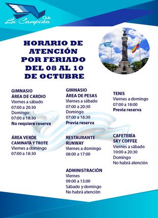 HORARIO DE ATENCIÓN POR FERIADO DEL 09 DE OCTUBRE