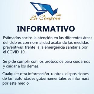 EL CLUB LA CAMPIÑA INFORMA A NUESTROS SOCIOS