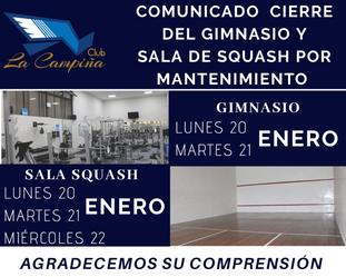 CIERRE GIMNASIO Y SALA DE SQUASH POR MANTENIMIENTO