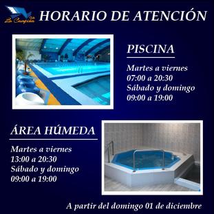 HORARIO DE ATENCIÓN PISCINA Y ÁREA HÚMEDA