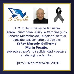 Fallecimiento del socio el Señor Marcelo Guillermo Marín Proaño