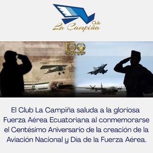 Club La Campiña saluda a la gloriosa Fuerza Aérea Ecuatoriana al conmemorarse el Centésimo Aniversar