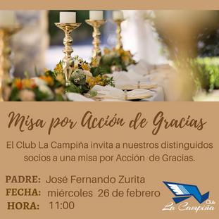 Te invitamos a la Misa por Acción de Gracias.