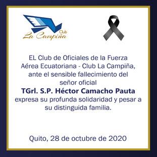 Fallecimiento TGrl. S.P. Héctor Camacho Pauta