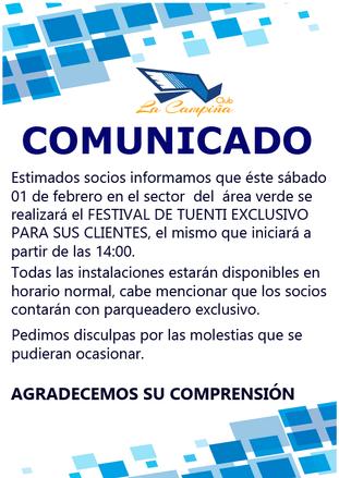 COMUNICADO PARA SOCIOS CLUB LA CAMPIÑA