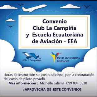 Convenio Club La Campiña y la Escuela Ecuatoriana de Aviación - EEA