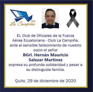 Fallecimiento BGrl. Hernán Mauricio Salazar Martínez.