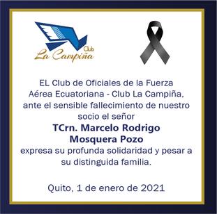 Fallecimiento TCrn. Marcelo Rodrigo Mosquera Pozo