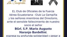 Fallecimiento de nuestro socio el señor BGrl. S.P. Mario Augusto Naranjo Bardellini