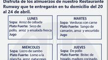 DISFRUTA DE LOS ALMUERZOS DE NUESTRO RESTAURANTE RUNWAY DEL 20 AL 24 DE ABRIL