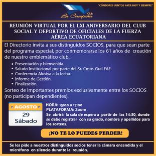REUNIÓN VIRTUAL POR EL LXI ANIVERSARIO DEL CLUB SOCIAL Y DEPORTIVO DE OFICIALES DE LA FUERZA AÉREA E