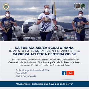 INVITACIÓN A LA TRANSMISIÓN EN  VIVO - CARRERA ATLÉTICA CENTENARIO 5K