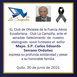 Fallecimiento Mayo S.P. Carlos Eduardo Serrano Ordoñez