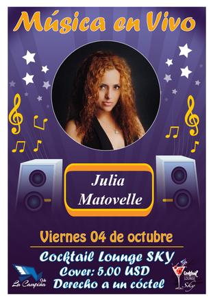 Música en vivo con Julia Matovelle en el Cocktail Lounge Sky