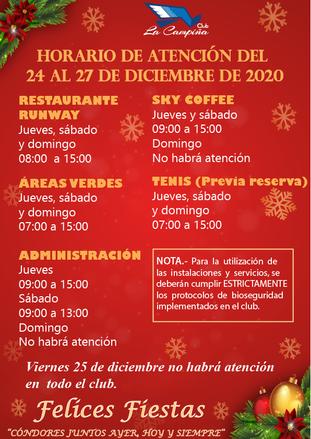 HORARIO DE ATENCIÓN DEL 24 AL 27 DE DICIEMBRE DE 2020