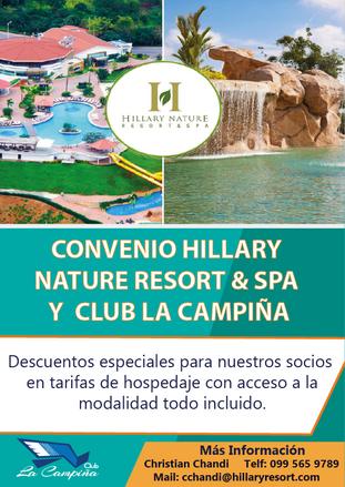 CONVENIO  HILLARY NATURE RESORT & SPA Y CLUB LA CAMPIÑA