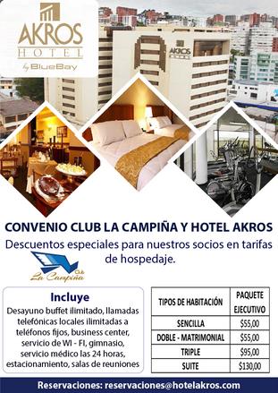 CONVENIO CLUB LA CAMPIÑA Y HOTEL AKROS