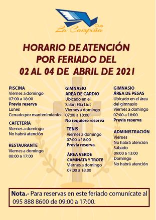 HORARIO DE ATENCIÓN POR FERIADO DEL 02 AL 04 DE ABRIL DE 2021