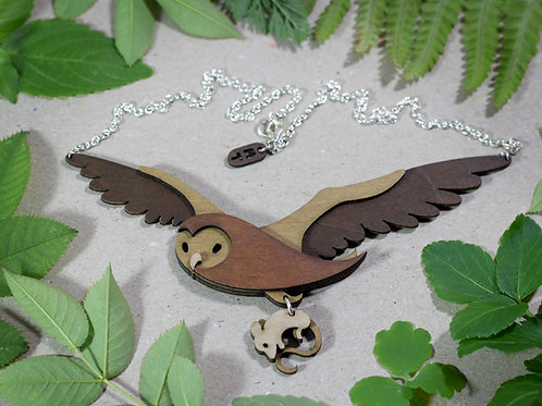 Woodland Owl and Mouse Necklace