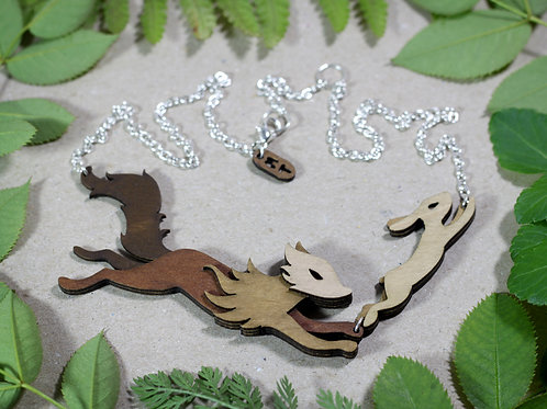 Woodland Fox and Hare Necklace