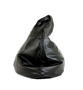Black Faux Leather Bean Bag