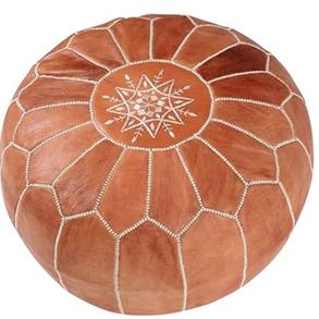 Moroccan Leather Pouf - $30