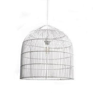 White Rattan Pendant - inc. bulb