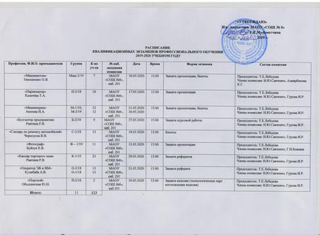 Квалификационные экзамены профессионального обучения 2019-2020 учебного года