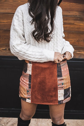 Patched in Gold Mini Skirt
