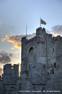 Gravensteen castle in Ghent just before sunset