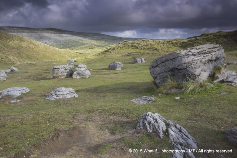Meteor-alike limestone rocks in Fanore's dunes, Clare (Ireland)