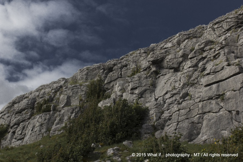 Limestone wall before storm in the Burren National Park (Ireland)