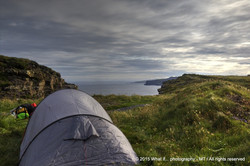 """""""Room with a view"""" tent on the Cliffs of Moher (Ireland)"""