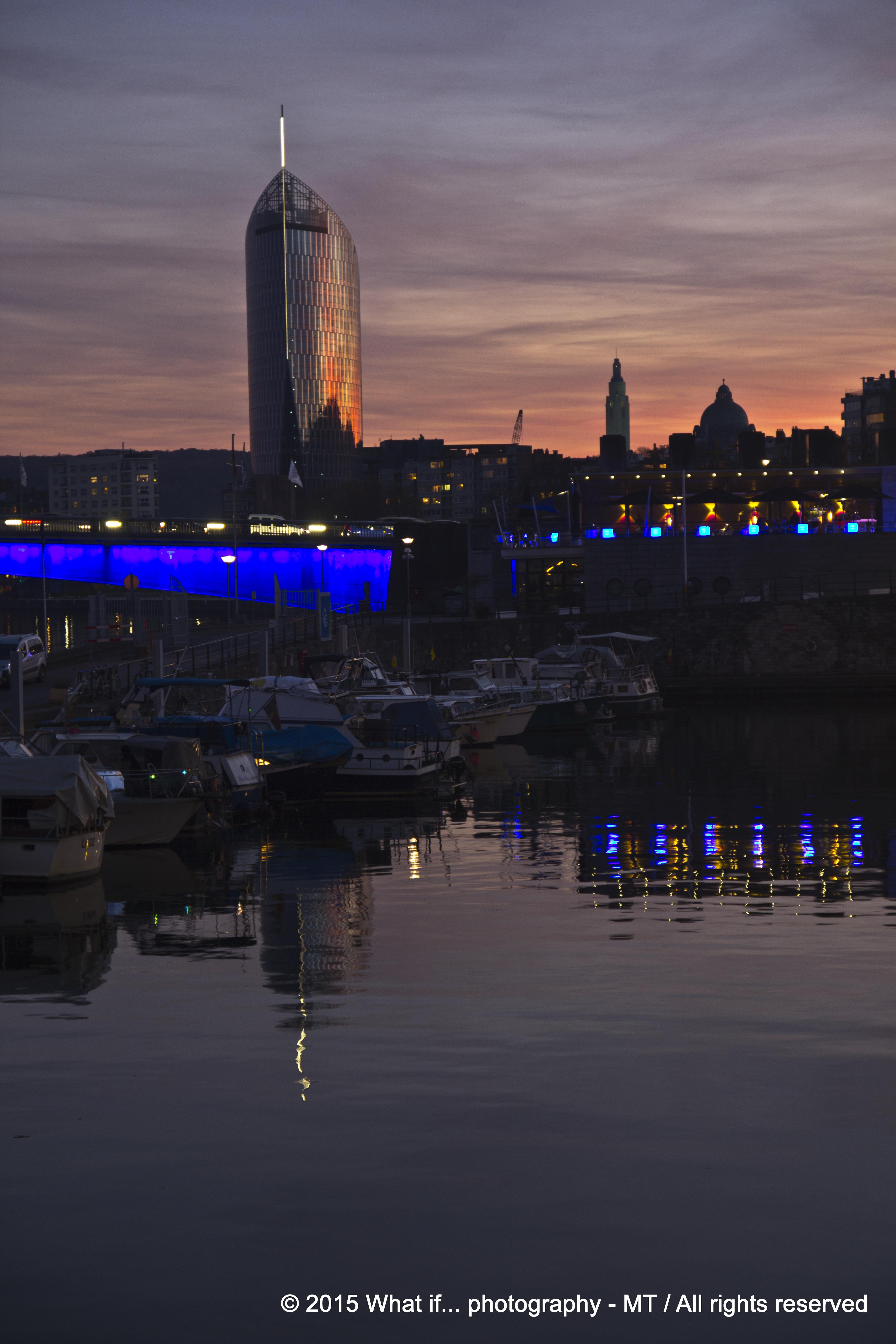 Skyline of Luik at sunset