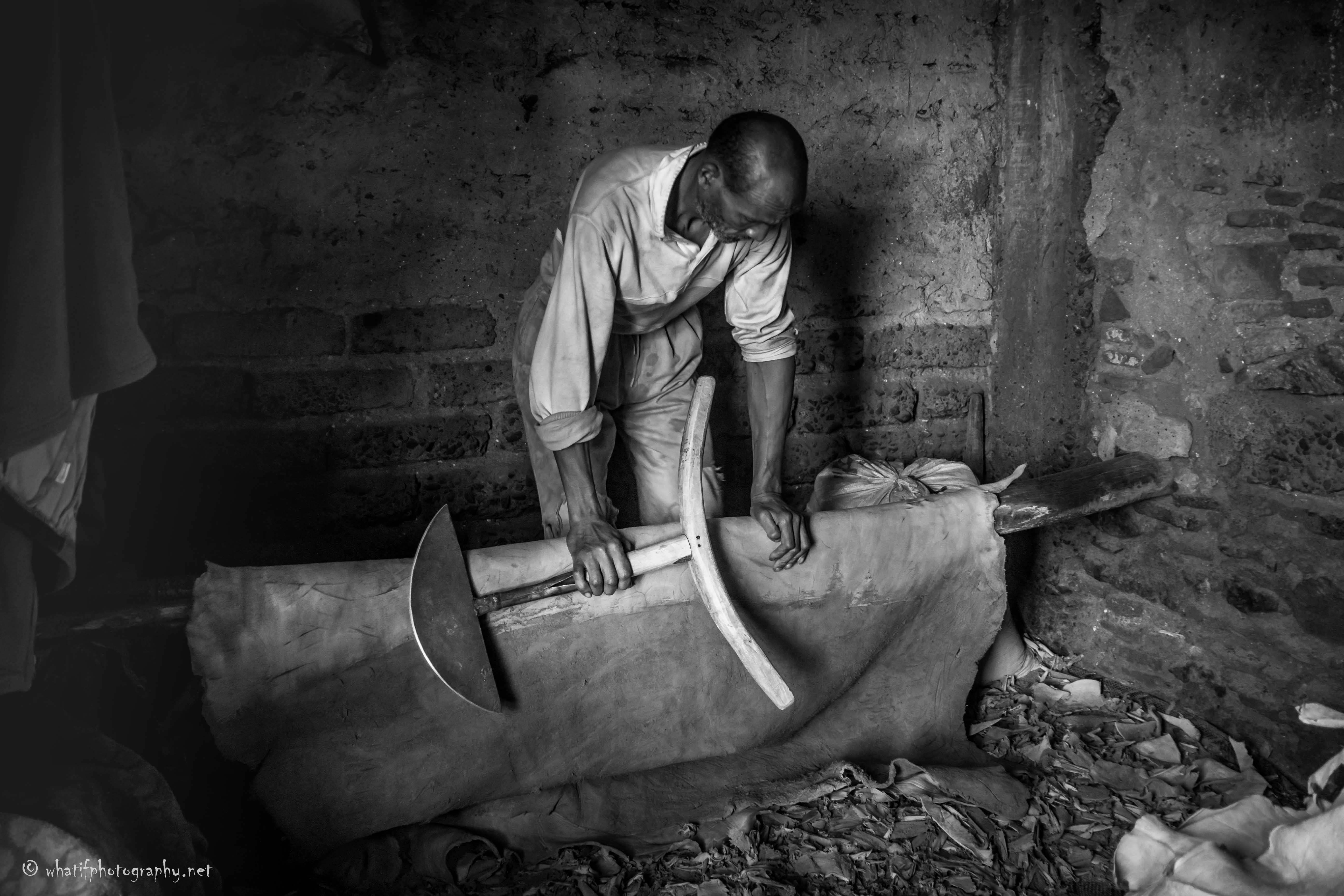 Moroccan leather worker